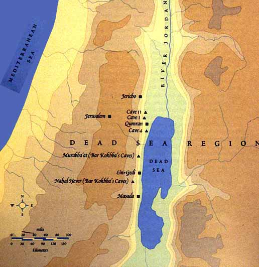 Mapa de la región de Qumran
