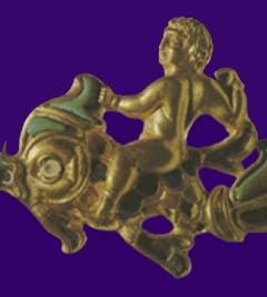 Hero riding a mythological fish